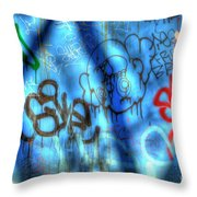 Red, Blue, And Black Tags Throw Pillow