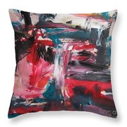 Red Blue Black Abstract Throw Pillow