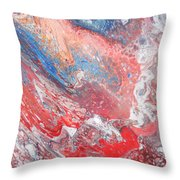 Red Blue White Abstract Throw Pillow