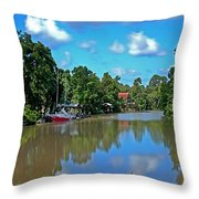 Red Boat And The Magnolia River Throw Pillow