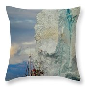 Red Boat Blue Ice Throw Pillow