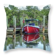 Red Boat Docked Florida Throw Pillow