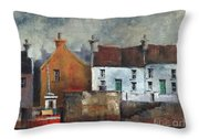 Red Boat In Aran Throw Pillow