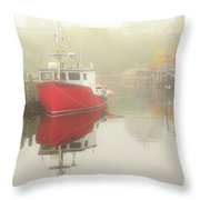 Red Boat In The Fog Throw Pillow