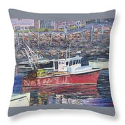 Red Boat Reflections Throw Pillow