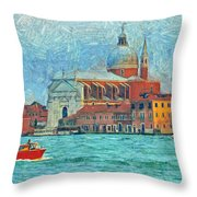 Red Boat Venice Throw Pillow