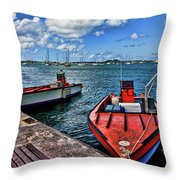 Red Boats At Blue Pier Throw Pillow