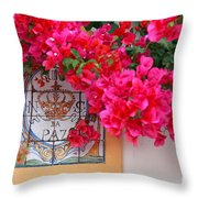 Red Bougainvilleas Throw Pillow
