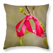 Red Bow In A Tree Throw Pillow