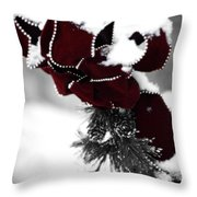 Red Bow In Snow Throw Pillow