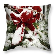Red Bow On Pine Bough Throw Pillow