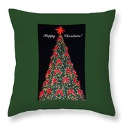 Red Bow Tree Throw Pillow