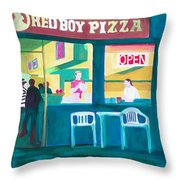 Red Boy Pizza Throw Pillow