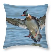 Red-breasted Merganser Landing Throw Pillow