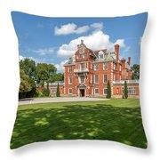 Red Brick Mansion Throw Pillow