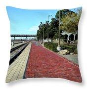 Red Brick Walkway Throw Pillow
