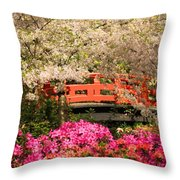 Red Bridge And Blossoms Throw Pillow