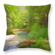 Red Bridge In Green Forest Throw Pillow