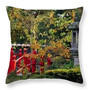 Red Bridge & Japanese Lantern, Autumn Throw Pillow by The Irish Image Collection
