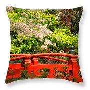 Red Bridge Springtime Throw Pillow