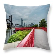 Red Bridge To Chicago Throw Pillow