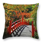 Red Bridge With Shadows Throw Pillow