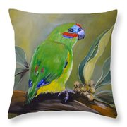 Red Browed Fig Parrot  Throw Pillow