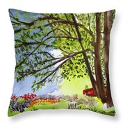 Red Brtdge Throw Pillow