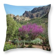 Red Bud Tree On Path Throw Pillow