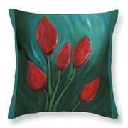 Red Buds Throw Pillow