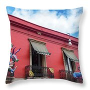 Red Building And Alebrije Throw Pillow