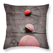Red Buoys  Throw Pillow