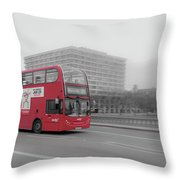 Red Buss In London Throw Pillow