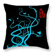 Red Butterfly And Vine Throw Pillow
