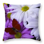 Red Butterfly On Assorted Mums Throw Pillow