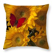 Red Butterfly With Four Sunflowers Throw Pillow