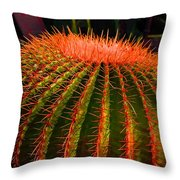 Red Cactus Throw Pillow