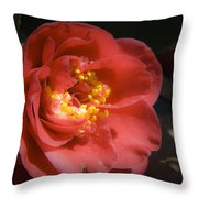 Red Camellia Bloom Throw Pillow