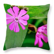 Red Campion - Fairy Flower. Throw Pillow