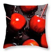 Red Candy Apples Or Apple Taffy Throw Pillow