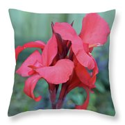 Red Canna Lily Floral Throw Pillow