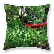 Red Canoe In The Adk Throw Pillow