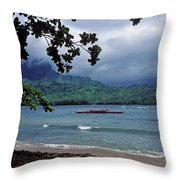 Red Canoe On Hanalei Bay Throw Pillow by Kathy Yates