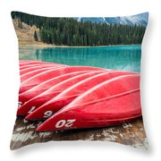 Red Canoes Of Emerald Lake Throw Pillow