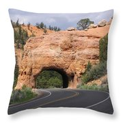 Red Canyon Tunnel Throw Pillow