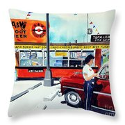 Red Car At The A And W Throw Pillow