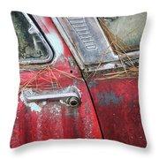 Red Car Door Handle Throw Pillow