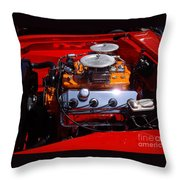 Red Car Engine  Throw Pillow