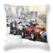 1957 Red Car Ferrari 801 German Gp 1957  Throw Pillow