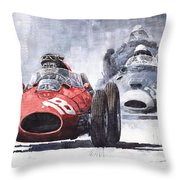 Red Car Ferrari D426 1958 Monza Phill Hill Throw Pillow